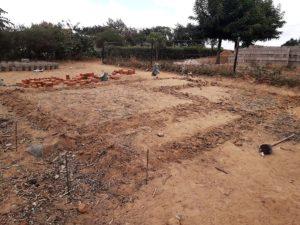 Grundriss auf dem Boden aufgemalt